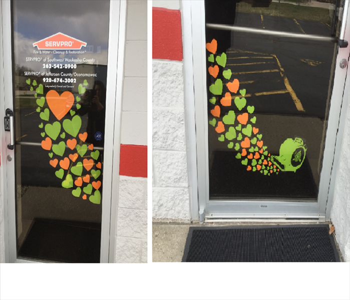 Close up of each glass door showing various sized hearts and an air mover