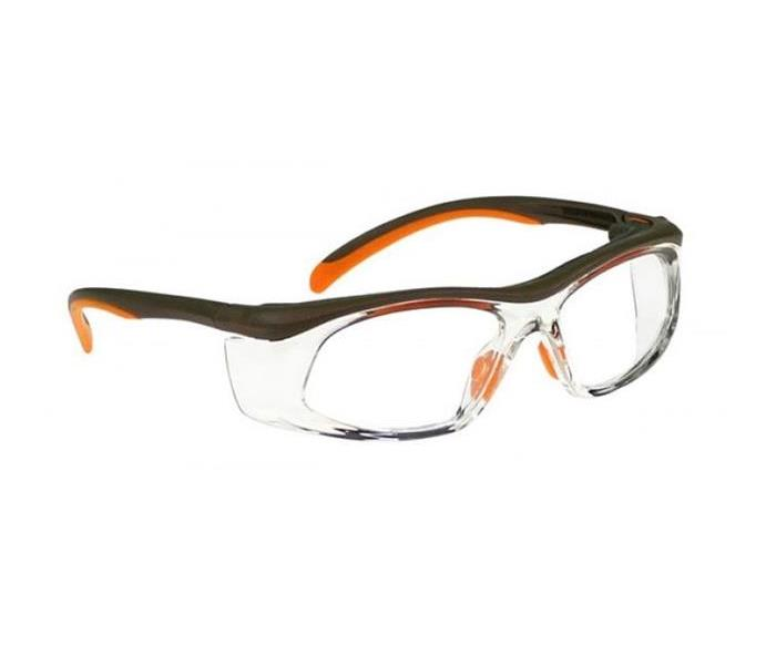 Safety glasses sit in a white back round
