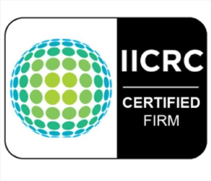 IICRC logo with IICRC Certified Firm in white lettering