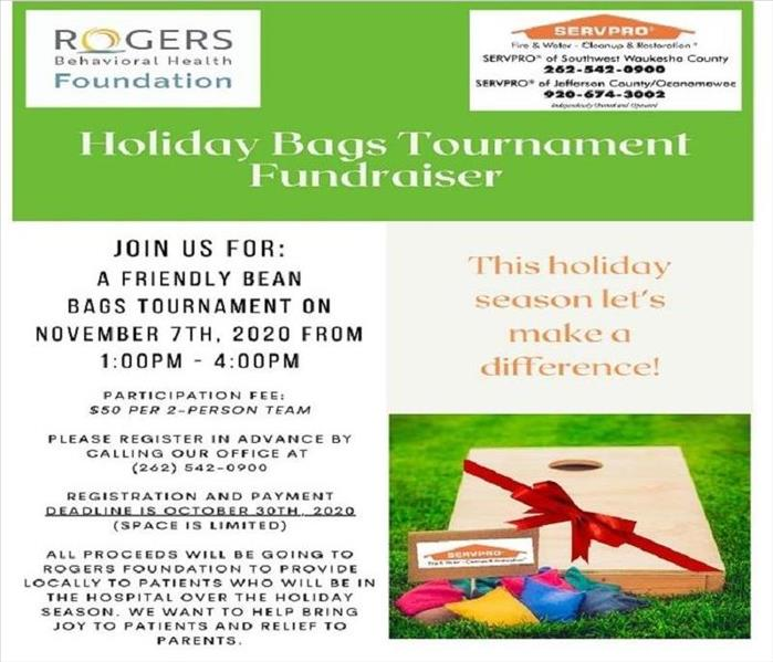A flyer with a green banner on top gives information for the Nov. bag toss